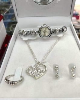 Set regalo orologio + collana + anello + orecchini