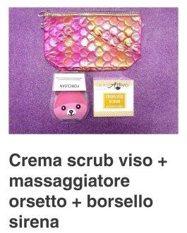 Crema scrub viso + massaggiatore orsetto + borsello sirena